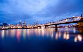 США, Орегон, Портленд, вечер, освещение, огни, мост, река, синее, небо