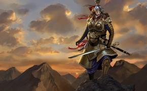 Arte, Gra, Rocks, uomo, guerriero, spada, armatura, top