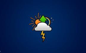 Облако, стрела, радуга, солнце, синий фон
