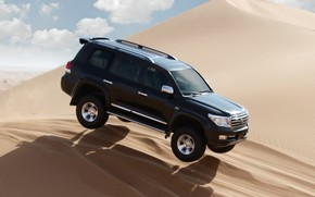 arena, dunas, saltar, Toyota