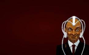Professor X, red background, X-Men, Mr. Bean, funny, helmet, red tie