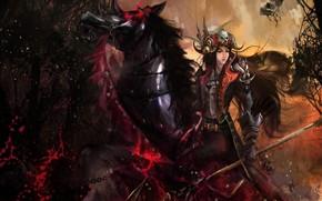 girl, horse, skull, Horn