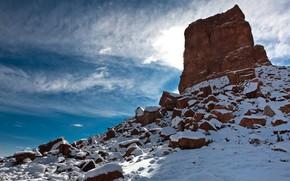 зима, холод, камни, монумент, небо