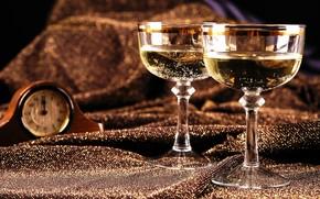 Champagne, calici, Seta, guardare, Capodanno, Capodanno