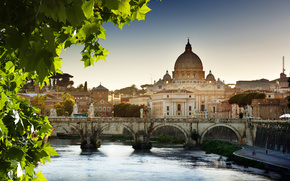 St. Peter's Cathedral, Vatican, Rome, Italy, bridge, Cathedral, leaves