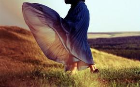 girl, dress, skirt, FLOOR, grass, wind