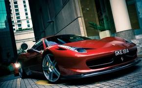 феррари, италия, красный, вид спереди, переулок, здания, свет фар, отражение, Ferrari