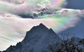 Горы, радуга в облаках, деревья, небо