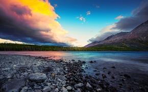 небо, река, камни, горы, лес, деревья,