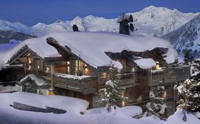 Resorts, France, Courchevel, snow, Wooden Mansion