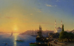 picture, landscape, Aivazovsky, Constantinople, Bosphorus, Port, city, wharf, Ships, Boat, Sailboats, sea, sky, light, people, Trees, building, architecture, mosque