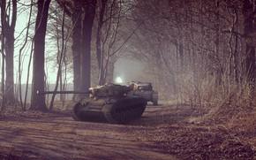 Tanks, alley, Trees, road, Medium Tank, military equipment