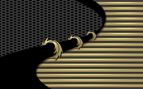 Черный, линии, узор, изгибы