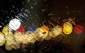 rain, Downpour, glass, water, drops, Streams, lights