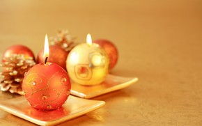 Candles, Candle, Stand, Gold, Cones, scenery, holiday, New Year, Christmas, New Year
