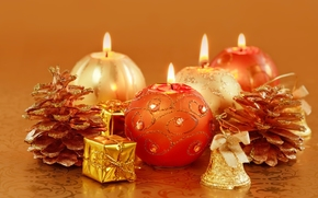 Candles, Candle, scenery, Gold, Cones, holiday, New Year, Christmas, New Year