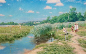 immagine, paesaggio, estate, villaggio, passeggiare, bambini, prato, pascolo, sentiero, torrente, palude, canna, alberi, cielo, nuvole