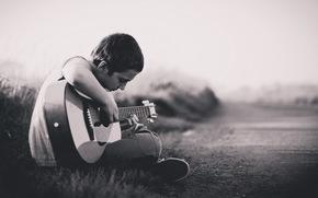мальчик, гитара, музыка