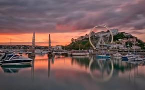 Torquay, England, bridge, boats, Yacht, bay