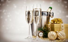Champagne, vacanza, Capodanno, Natale, regalo, Palle, oro, Giocattoli, calici, Capodanno