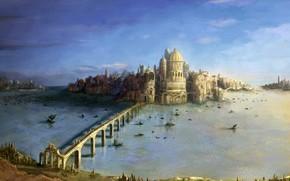 Art, castle, fortress, lake, bridge, water, Arch, Ships