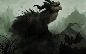 Arte, Dragons, Montagne, nebbia, foschia, alberi, oscuramente