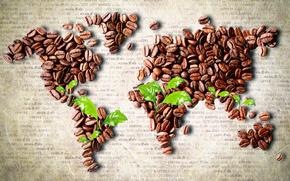 caff, Grano, fogliame, mappa, continenti