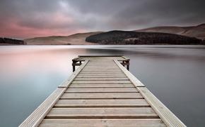 United Kingdom, Scotland, lake, wood, bridge, evening, sky, clouds