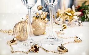 Campane, tinsel, Decorazioni di Natale, calici, Champagne, Palle, Capodanno