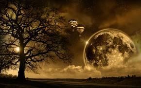 солнце, графика, дерево, планета, шар, свет, облака, небо, дорога, воздушный