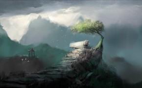 горы, дерево, кривое, скалы, беседка, арт