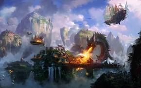 арт, город, битва, дракон, огонь, нападение, птица, корабли, летучие, горы, скалы, водопад, храм
