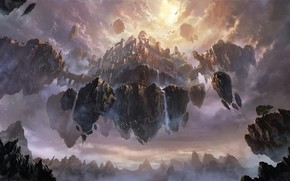 Art, city, Volatile, rocks, in the sky, Mountains, waterfalls