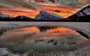 See, Gebirge, Sonnenuntergang, Landschaft
