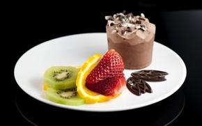 ice cream, dessert, strawberry, kiwi, orange, chocolate, plate