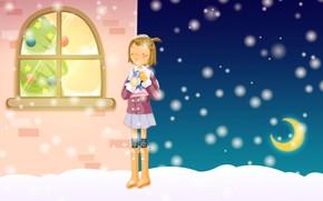 Ao Nuevo, Navidad, invierno, nieve, sueo, rbol, comodidad, calle, escarcha, regalo, nia, Ao Nuevo