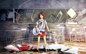 Art, girl, guitar, class, wire
