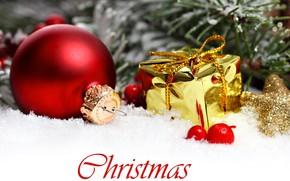 шарик, красный, игрушки, елочные, коробочка, золотая, Новый Год, Рождество