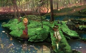 Arte, ragazze, natura, acqua, alberi, cappello, paesaggio, fiume, foresta, pesce, erba