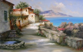 Alexander Miliukov, sole, Gurzuf, Crimea, mare, paesaggio