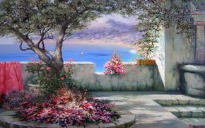 Alexander Miliukov, Paesaggio del Sud, sole, ombra, Crimea, mare, vela, fiori, gioia, estate, albero