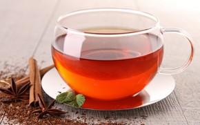tea, cinnamon, cup, saucer, star anise, anise