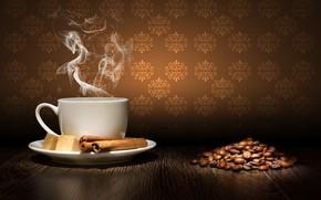 coffee, steam, cinnamon, sugar, cup, saucer, grain, table