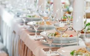calici, piatti, posa, tavolo, Panni, vetro