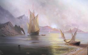 Alexander Miliukov, Alba in mare, paesaggio, sole, alba, Crimea, mare, nave, Barche, vela, Montagne, bellezza