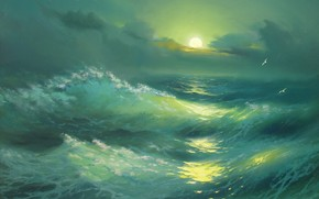 Alexander Miliukov, notte, paesaggio, onda, mare, turchese, luna, traccia, Gabbiani, Crimea, bellezza