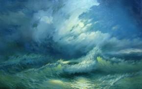 Alexander Miliukov, notte, onda, paesaggio, mare, blu, luna, splendere, Crimea, bellezza