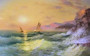 Alexander Miliukov, tramonto, mare, portata, sole, onde, vela, Montagne, Rocks, Crimea, paesaggio, bellezza