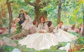 picnic, ragazze, ragazzi, riposo, gioia, sole, estate, cappelli, retr