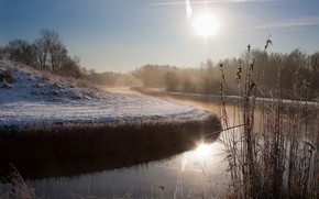 Morning, river, fog, landscape